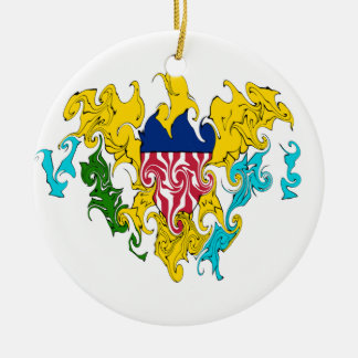 US Virgin Islands Gnarly Flag Double-Sided Ceramic Round Christmas Ornament