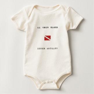 US Virgin Islands Lesser Antilles Scuba Dive Flag Baby Bodysuit
