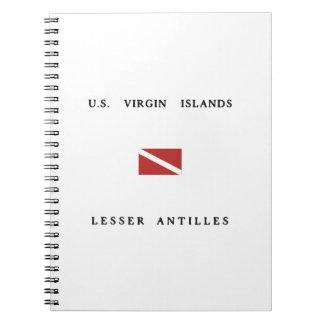 US Virgin Islands Lesser Antilles Scuba Dive Flag Note Books