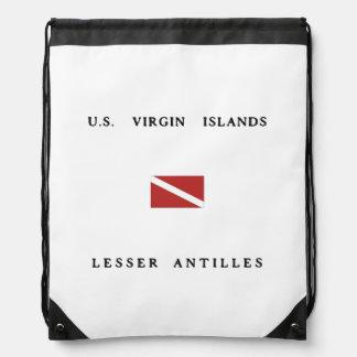 US Virgin Islands Lesser Antilles Scuba Dive Flag Drawstring Backpack