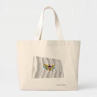 US Virgin Islands Waving Flag Tote Bags