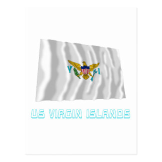 US Virgin Islands Waving Flag with Name Postcard