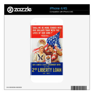 US War Bonds 2nd Liberty Loan 1917 WWI Propaganda Skins For iPhone 4S