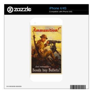 US War Bonds Ammunition WWI Propaganda iPhone 4 Decal