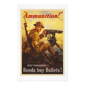 US War Bonds Ammunition WWI Propaganda Stationery
