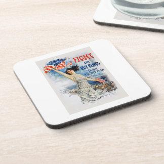 US War Bonds Fight Buy Third Liberty Loan WWI Beverage Coaster
