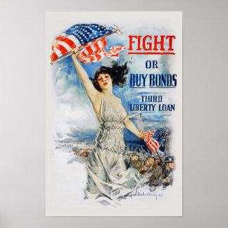 US War Bonds Fight Buy Third Liberty Loan WWI Poster