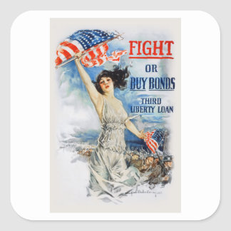 US War Bonds Fight Buy Third Liberty Loan WWI Square Sticker