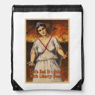 US War Bonds Let's End It Quick WWI Propaganda Drawstring Bag