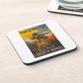 US War Bonds Liberty Lend Fight WWI Propaganda Drink Coaster
