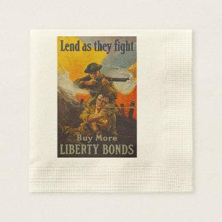 US War Bonds Liberty Lend Fight WWI Propaganda Napkin