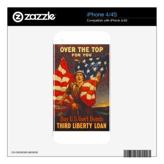 US War Bonds Third Liberty Loan WWI Propaganda Skin For iPhone 4