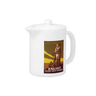 US War Bonds Your Country Calls WWI Propaganda Teapot