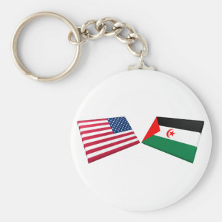 US & Western Sahara Flags Keychains