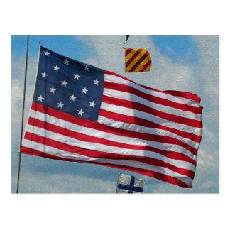 USA 15 Star Flag Postcard