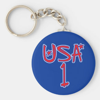 USA 1 !  USA number one! Basic Round Button Keychain