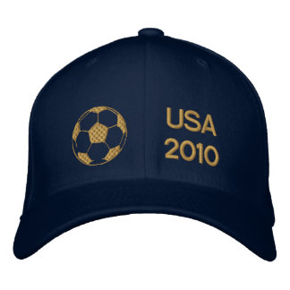 USA 2010 gold embroidered soccer ball cap Embroidered Baseball Cap