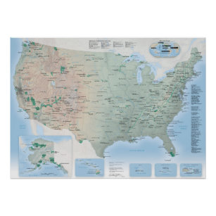 USA 2020 National Parks Map Poster