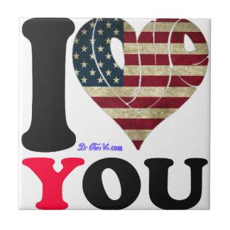 USA 2 FLAG I LOVE YOU CUSTOMIZABLE PRODUCTS TILE