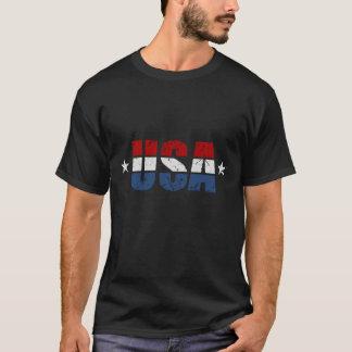 USA 2 Stars Distressed T-Shirt