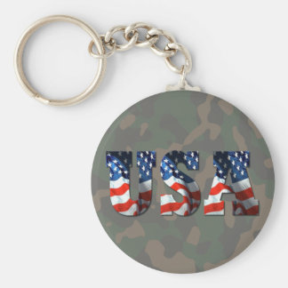 USA 3-D Camo-Military Support by SKO Basic Round Button Keychain
