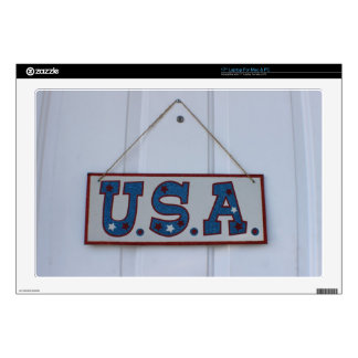"""USA 4th of July Hang Decal For 17"""" Laptop"""