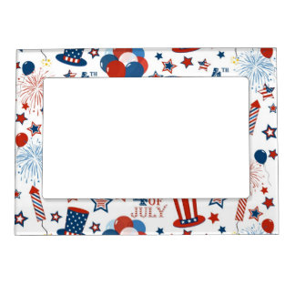 USA 4th of July Symbols Magnetic Picture Frame