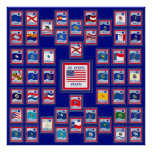 USA 50 STATE FLAGS BLUE/555 POSTER