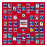 USA 50 STATE FLAGS RED/557 POSTERS