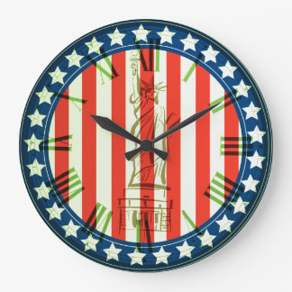 USA Abstract Flag With Statue Of Liberty Large Clock