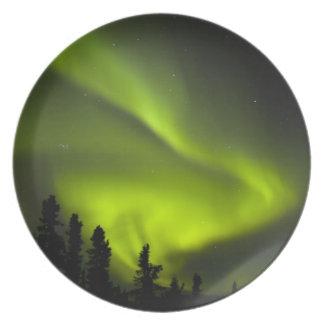 USA, Alaska, Chena Hot Springs. Aurora Borealis 2 Party Plates