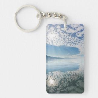 USA, Alaska, Freshwater Bay. Clouds Reflected Double-Sided Rectangular Acrylic Keychain
