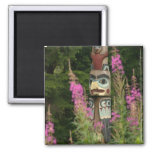 USA, Alaska, Ketchikan, Totem Bight State 2 Inch Square Magnet