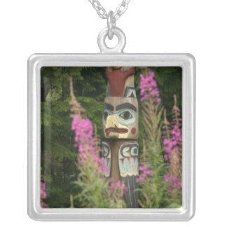 USA, Alaska, Ketchikan, Totem Bight State Square Pendant Necklace