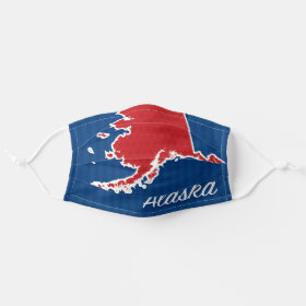 USA Alaska State Stars and Stripes Map Cloth Face Mask