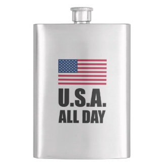 USA All Day Patriotic Flask