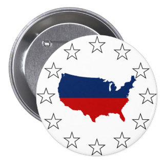 USA All Red White & Blue 3 Inch Round Button