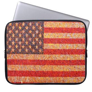 USA America Flag Rusty Old Texture Laptop Sleeve