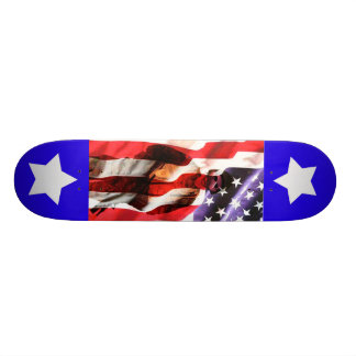 USA America Soldier Fade into Flag with Stars Skateboard Deck