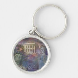 USA - America the Beautiful! Silver-Colored Round Keychain