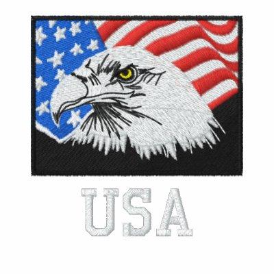 USA American Bald Eagle Fleece Track Jacket