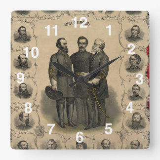 USA American Civil War Heroes Square Wall Clock