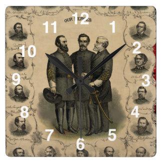 USA American Civil War Heroes Square Wall Clock
