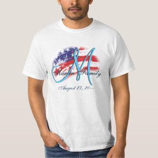 USA American Family Reunion Flag Colors Monogram T-Shirt