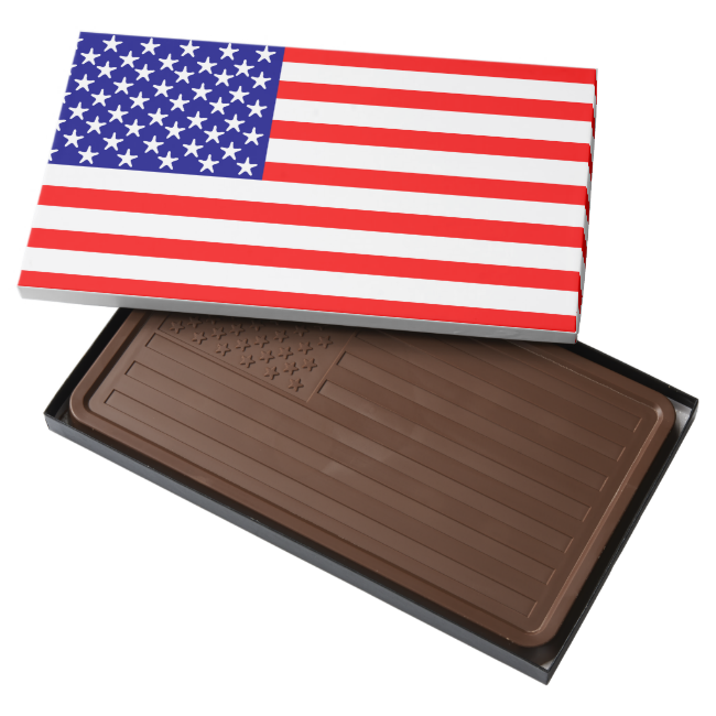 USA American Flag 2 Pound Milk Chocolate Bar Box
