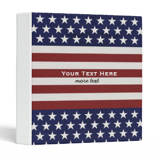 USA American Flag 4th of July Personalized Custom 3 Ring Binder