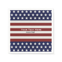 USA American Flag 4th of July Personalized Custom Paper Napkin