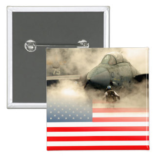 USA (American) flag against fighter jet aircraft Button