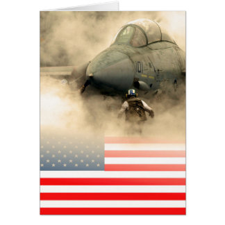 USA (American) flag against fighter jet aircraft Card