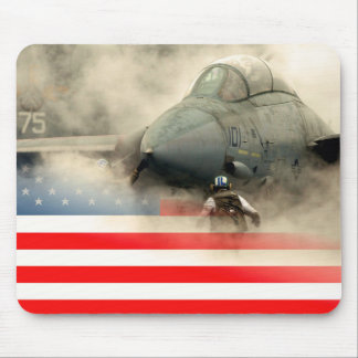 USA (American) flag against fighter jet aircraft Mouse Pad